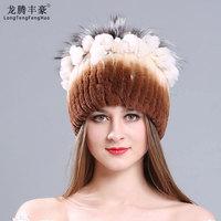 women's hat Rabbit Rex Fur Cap Knitted Hats beanies female Casual thick hats women caps warm for winter caps Russian Ushanka Hat
