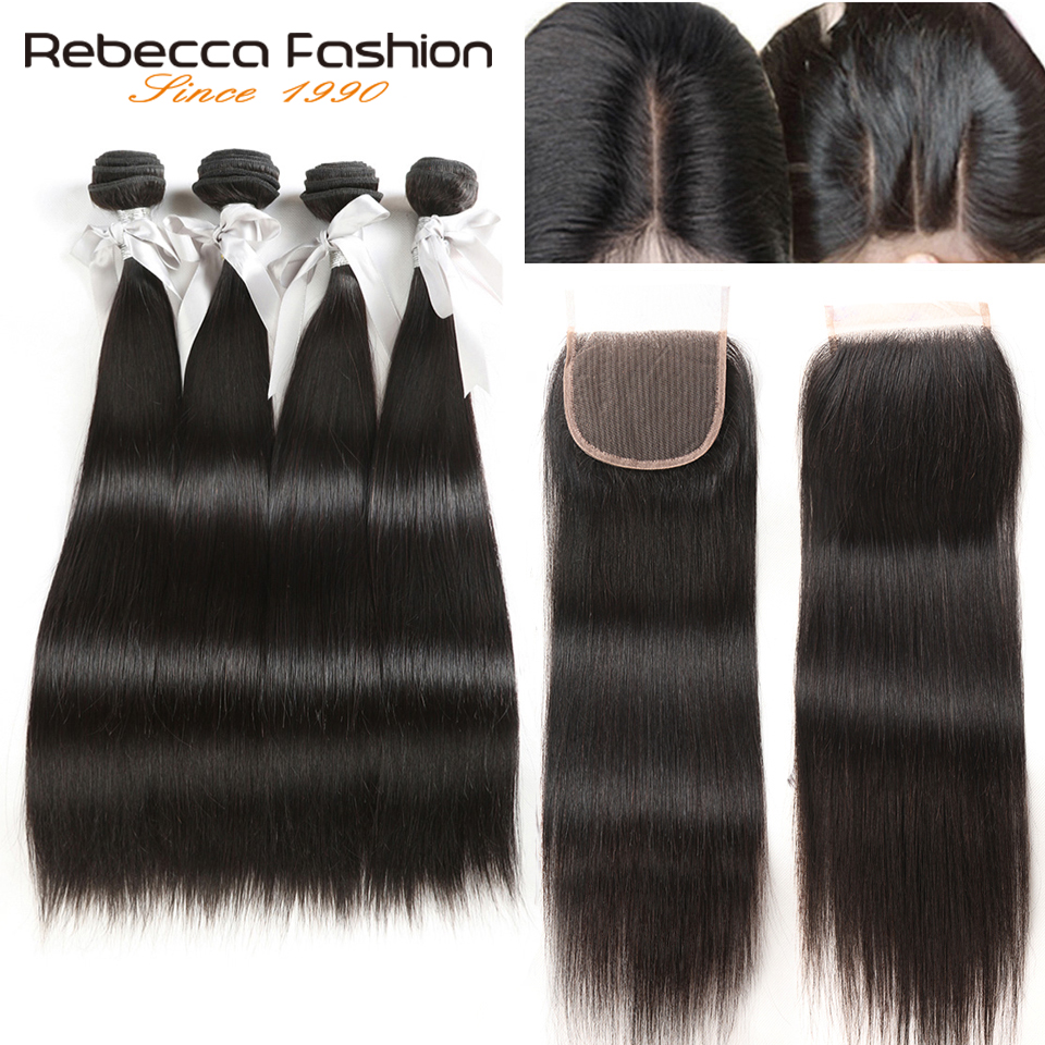 Rebecca 4 Bundles With Closure Non Remy Brasilian Straight Hair - Barbershop