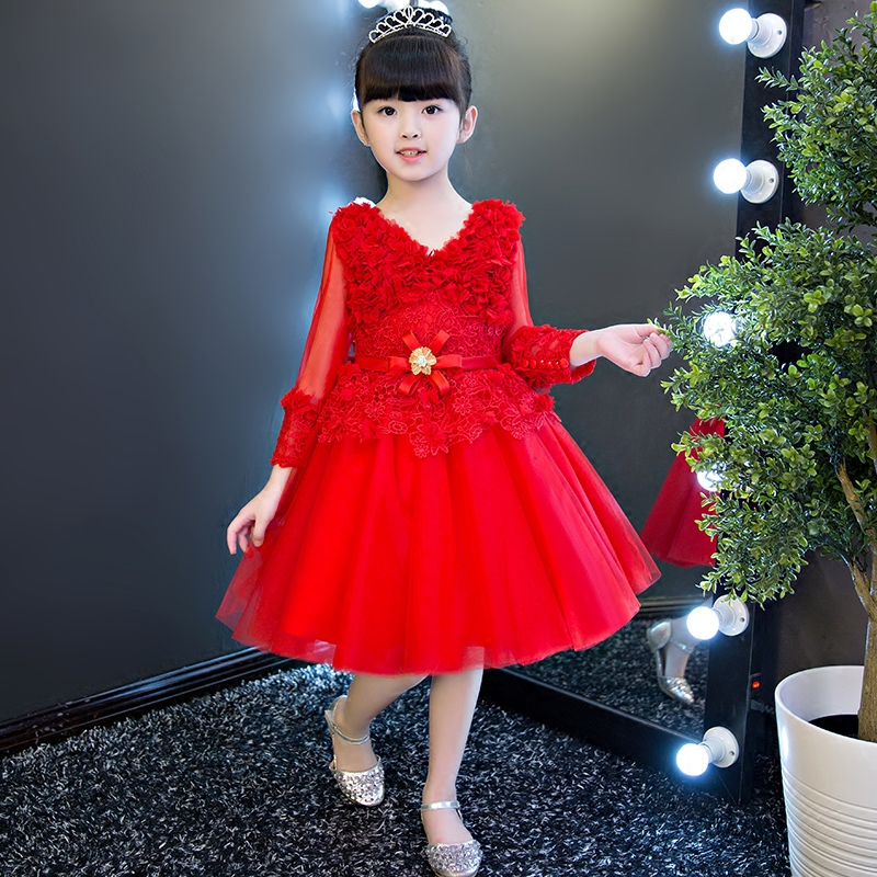 2017 New Children Girls Fashion wedding birthday party ball gown lace dresses long sleeves baby girls pageant red white dress muqgew new fashion 2018 children party