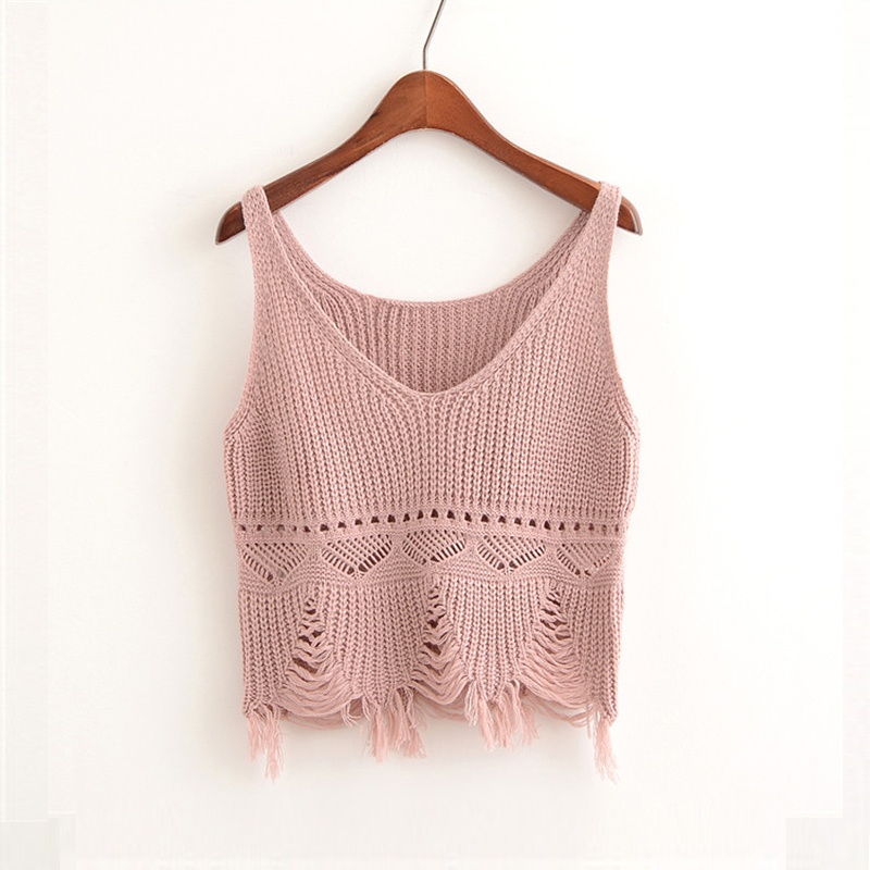 font b Women b font Summer Crop Top Cotton Halter Vest Knitted Hollow Out V