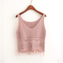 Women Summer Crop Top Cotton Halter Vest Knitted Hollow Out V Neck Tank Tops Casual Solid Straps Short Bustier Colete Feminino