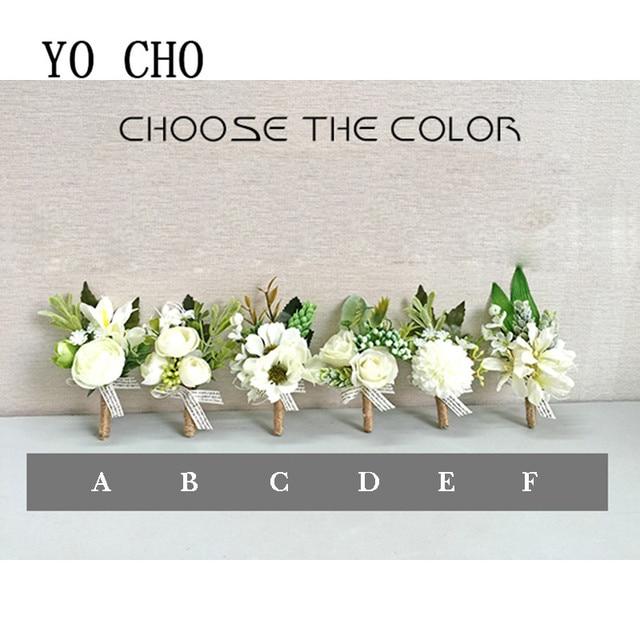 Yo Cho White Orchid Artificial Rose Wrist Corsage Bracelet Silk Flower Bridesmaid Hand Flowers Diasy Wedding