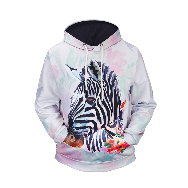 2018 3D Zebra Hoodie Women with Hat Loose Black Stripe Animal Long Sleeve Unisex WhireHoodies for Women/Men Front Pocket Hooded