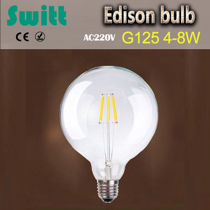 SWITT 2017 New Arrival G125 Edison Bulb 4W 6W 8W filament led bulb E27 clear glass indoor lighting lamp 220V vintage retro lamp high brightness 1pcs led edison bulb indoor led light clear glass ac220 230v e27 2w 4w 6w 8w led filament bulb white warm white