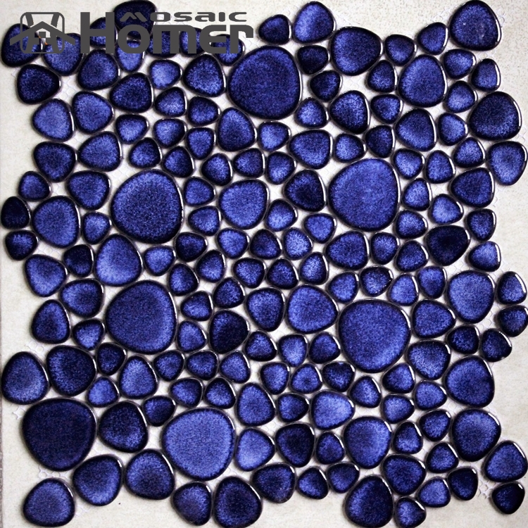 Delighful Blue Bathroom Floor Tiles Shipping Free Navy Pebble Ceramic Mosaic For Wall And Backsplash From Inside Design