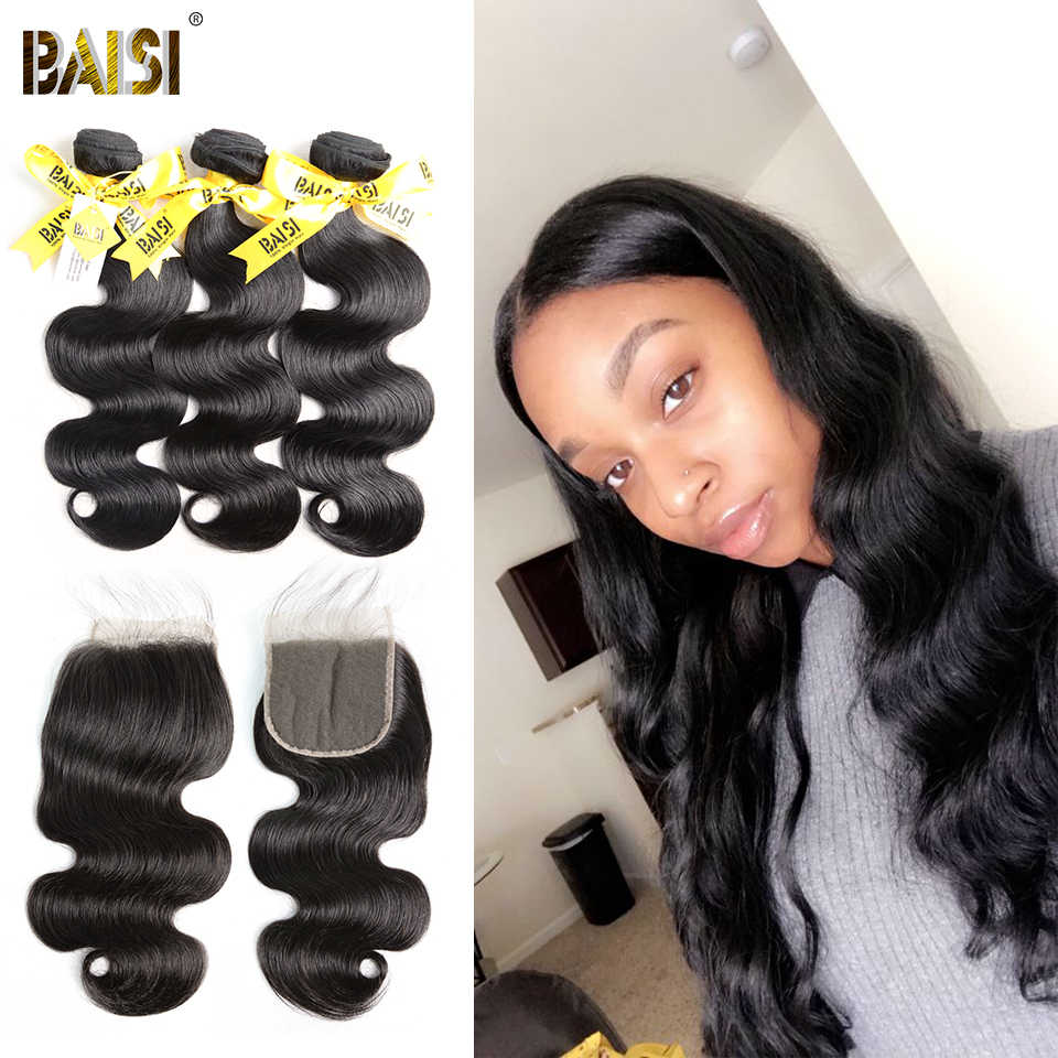 BAISI 100% Unprocessed Human Virgin Hair Peruvian Virgin Hair Body Wave 3 Bundles with Lace Closure