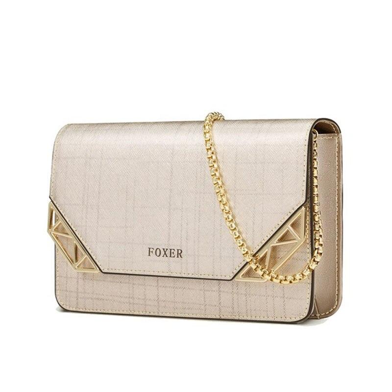 FOXER Brand Women Cowhide Leather Shoulder bag Women s Chain Strap  Crossbody Bag Fashion Ladies Bag Female Messenger bag 85b202623566
