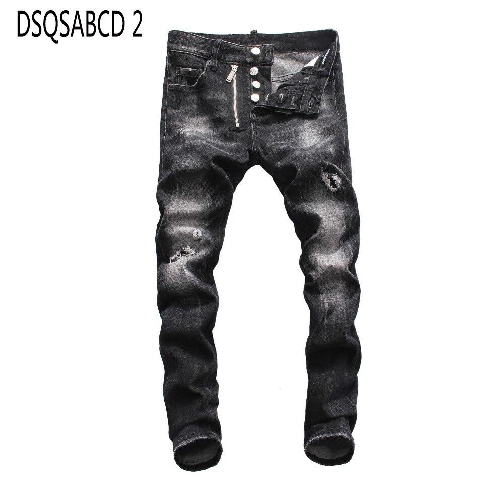 European American   jeans   casual famous brand Denim   jeans   Men Slim denim trousers button black hole Pencil Pants   jeans   for men
