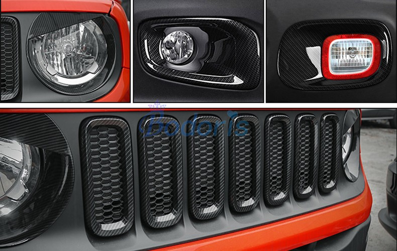 Carbon Fiber Color Light Fog Lamp Mirror Wiper Daylight Handle Exterior Garnish Trim Car Styling For Jeep Renegade Accessories