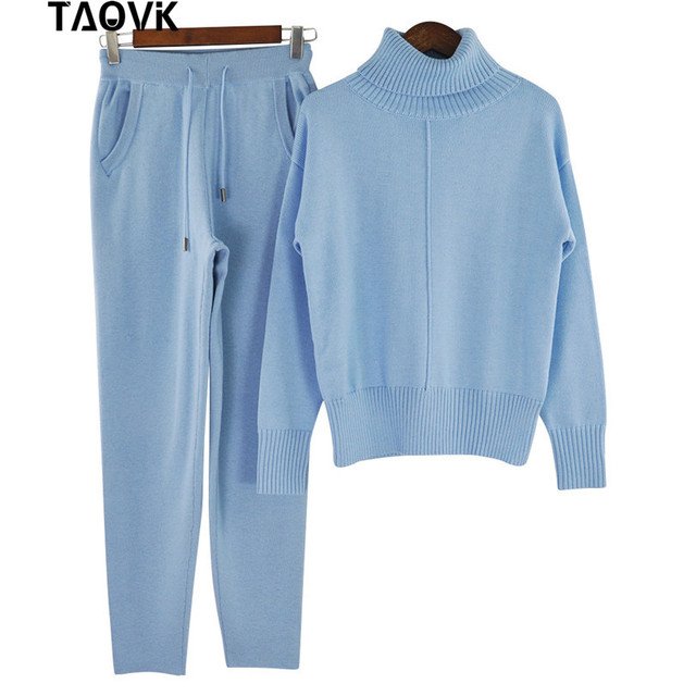 TAOVK Winter Woolen and Cashmere Knitted Warm Suit High Collar Sweater + Mink Cashmere Pants Loose Style Two-piece Set Knit 4