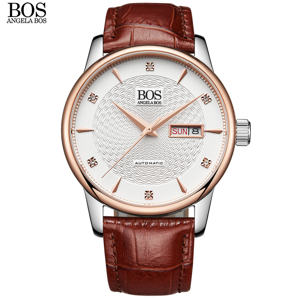 ANGELA BOS Self Wind Automatic Business Mechanical Watch Men Sapphire Wavy Pattern Genuine Leather Luxury Watches Wristwatch deluxe ailuo men auto self wind mechanical analog pointer 5atm waterproof rhinestone business watch sapphire crystal wristwatch