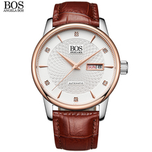 ANGELA BOS Self Wind Automatic Business Mechanical Watch Men Sapphire Wavy Pattern Genuine Leather Luxury Watches Wristwatch