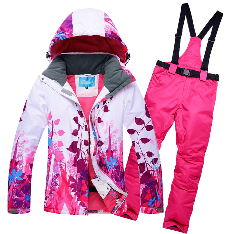 New Women Ski Suit Windproof Waterproof Snowboard Outdoor Sport Wear Skiing Jacket+Pants Camping Riding Super Warm Clothing Set