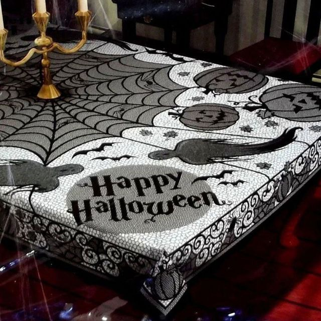 Hot Lace Black Spider Web Tablecloth Tablecover Rectangle 60*80inch  Halloween Party Decor Hot Sale
