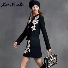 XUANYINGLU Women's Sets 2016 New Winter Autumn Sets European High-end trend model Printing Embroidery long-sleeved Casual Sets