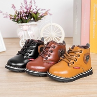 JACKSHIBO Kid Snow Boots Fashion Lace Up Boys Girls Leather Ankle Boots Warm Martin Boots Casual