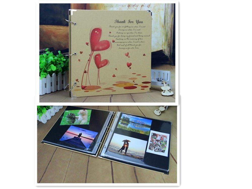 16 pouces mariage grand papier Vintage bricolage 30 feuilles noires Photo Scrapbook bébé enfants Album Photo avec poche intérieure étanche