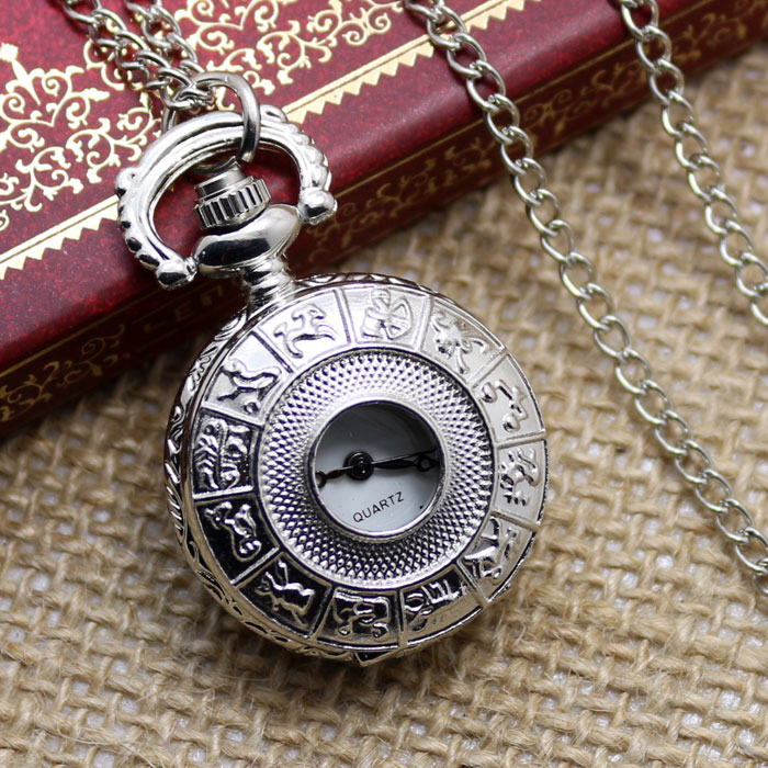 2016 Small Hollow Silver Zodiac Design Fob Pocket Watch With Necklace Chain Gift To Men Women Free Shipping bronze quartz pocket watch old antique superman design high quality with necklace chain for gift item free shipping