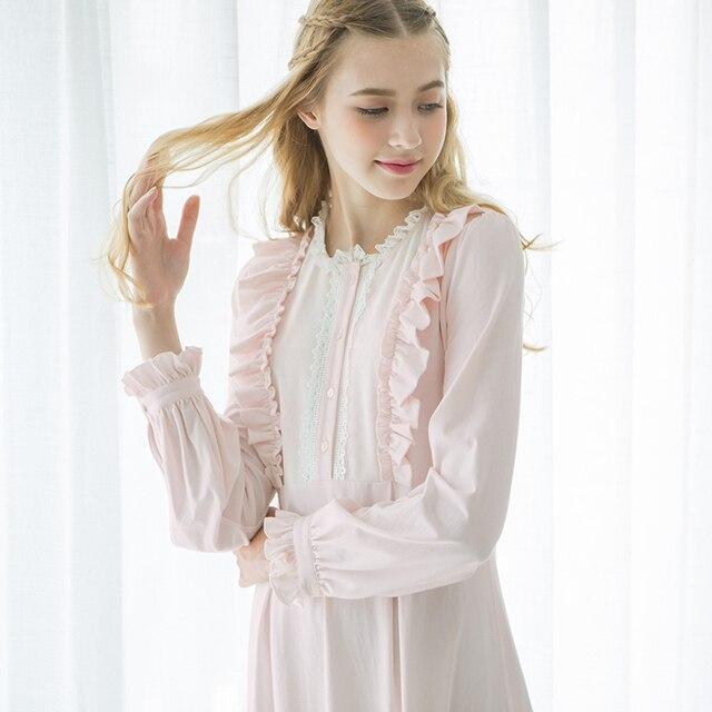 Free Shipping 2017 New Autumn Princess Nightdress Women\'s White ...