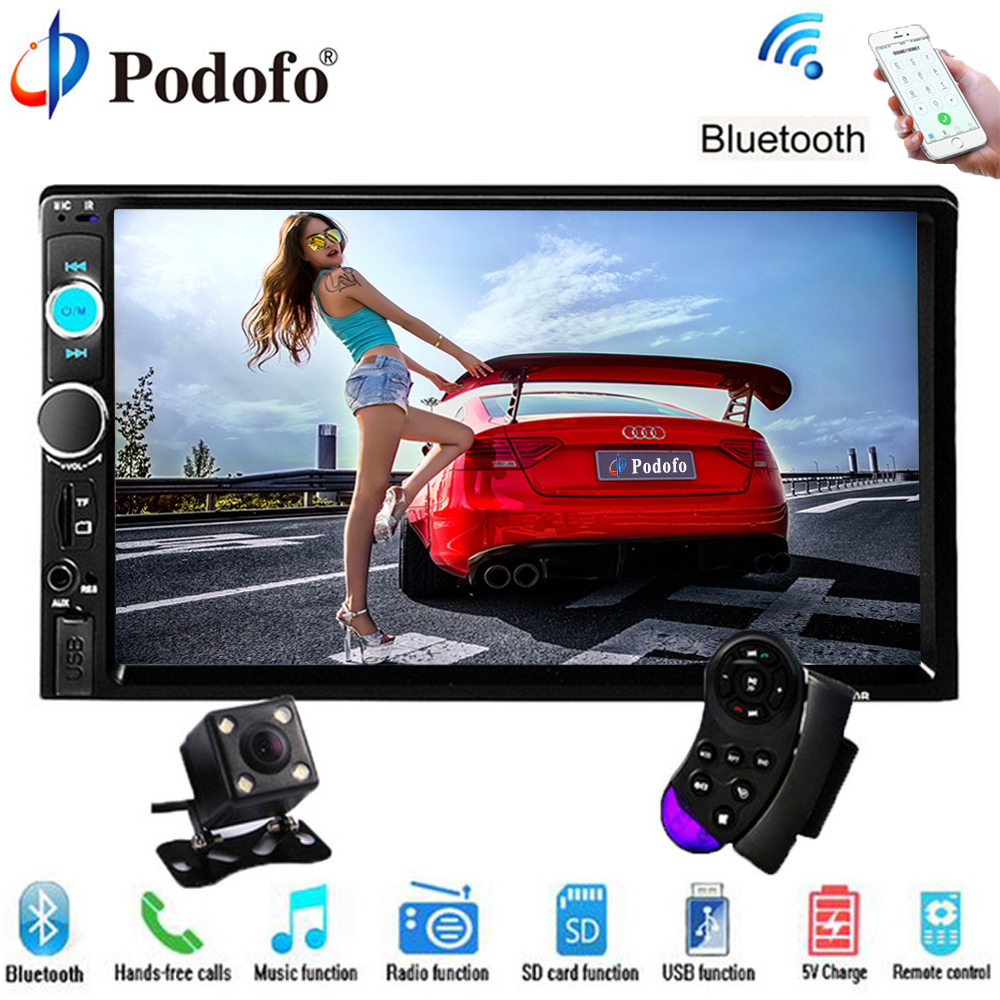 Podofo Car DVD Multimedia Player 2 din Universal Car Audio Bluetooth 7 Touch Autoradio USB/TF FM Aux with Camera Car Stereo MP5 universal hd 7 touch screen automagnitola 1 din mp5 fm aux player bluetooth stereo radio usb tf auto electronics 7080b