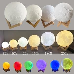 Image 5 - ثلاثية الأبعاد طباعة مصباح قمري ملون تغيير USB قابلة للشحن ضوء القمر اللمس التبديل LED ليلة ضوء غرفة نوم الديكور هدية عيد ميلاد