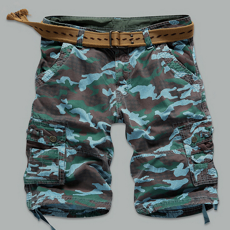 Brand Military European American Mens Cargo Shorts Casual Cotton Multi Pocket Summer Man Camouflage Short Pants plus Size