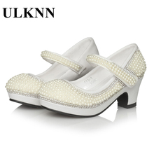 UNKLL Girls Princess Shoes Children Sandals Pearl Platform High Heels Dress Shoes For Kids Soft Leather Party Wedding Sandal girls roman sandals for kids princess shoes summer fashion high heels soft leather children open toe sandal dress wedding party
