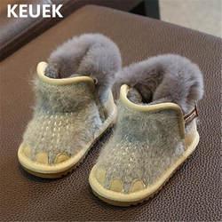 Новые Детские ботильоны для маленьких мальчиков и девочек зимние сапоги обувь для детей малышей теплая детская обувь зимняя 03