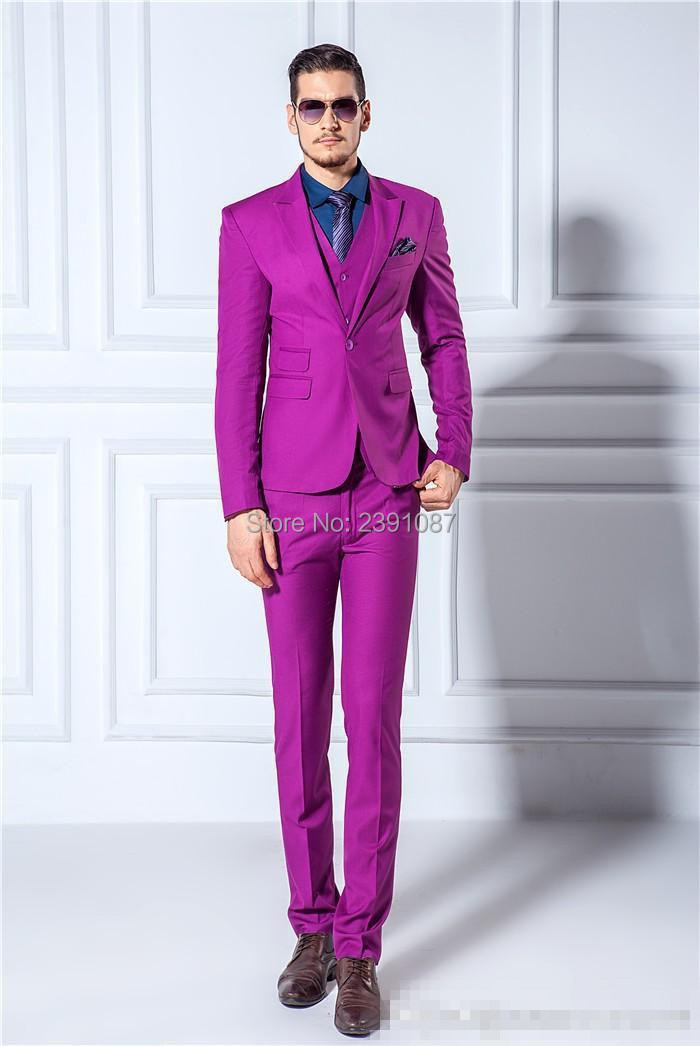 Jackets Pants Vest Bow Tie Men Suits Slim Blazers Tuxedo Groom Prom Purple Wedding