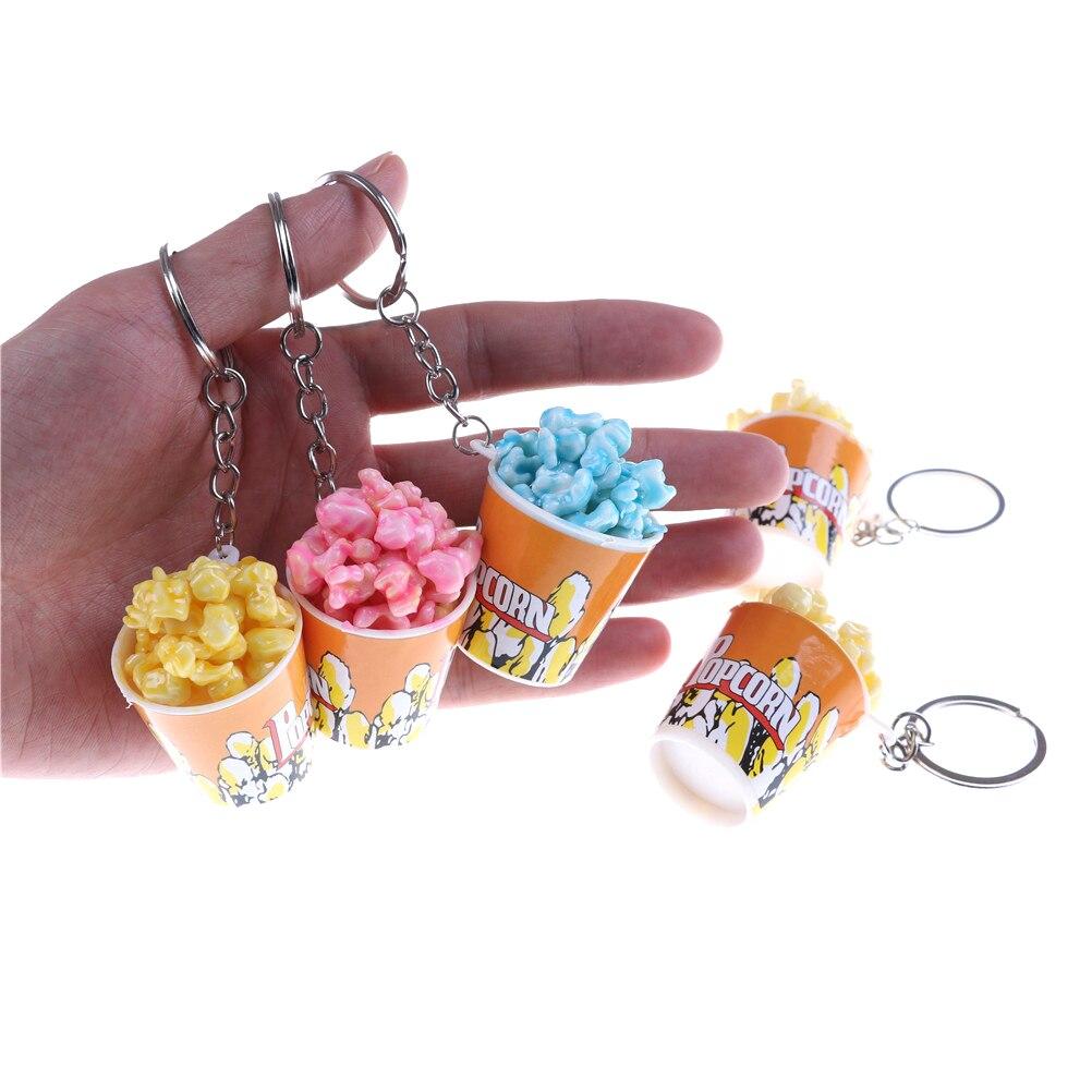 Simulation Artificial Food Keychain Popcorn Bowlful Key Pendant Keyring Novelty Colorful Key Chain For Women Gilrs Jewelry