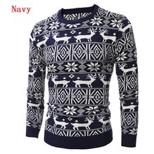 2016 New Autumn Fashion Casual Men Sweater O-Neck Slim Fit Knitting Thick Mens Sweaters Christmas Deer Leisure Pullover Homme