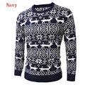 2016 Nueva Moda Casual Otoño de Los Hombres Suéter Del O-cuello Slim Fit Knitting Gruesa Para Hombre de los Suéteres de Navidad Ciervos Ocio Jersey Homme
