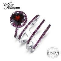 JewelryPalace 3.2ct Genuine Granadas Inlay Rubis Envoltório Anel S925 Prata Esterlina Jóias Anéis Para Mulheres Presente Do Aniversário