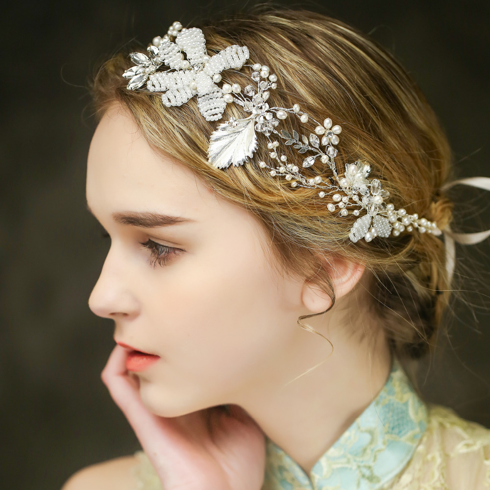 Rhinestone And Pearls Hair Vine Wedding Crown Handmade Flower Bridal