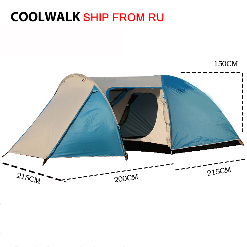 Ship From RU 3-4 Person Camping Tent Outdoor Hiking Tourist Tent Large Four Season Tent Waterproof Two Door Family Tents high quality 9 person large space outdoor waterproof camping tent 3 room 1 hall mosquito net family tents for party low price