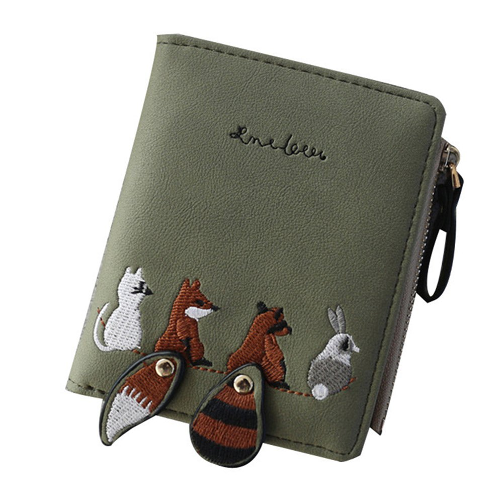 High quality Women's Wallet Lovely Cartoon Animals Short Leather Female Small Coin Purse Hasp Zipper Purse Card Holder For Girls(China)