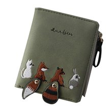 High quality Women's Wallet Lovely Cartoon Animals Short Lea
