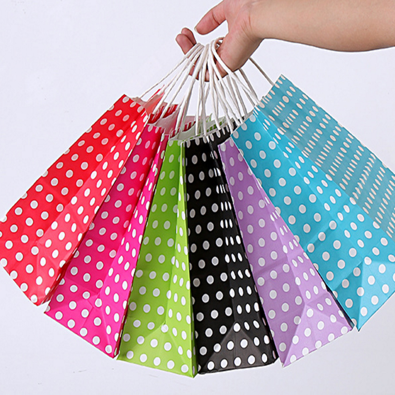 Image 2 - 40PCS/lot Polka Dot kraft paper gift bag with handles 21*15*8cm Hotsale Festival gift bags DIY multifunction shopping bagsGift Bags & Wrapping Supplies   -