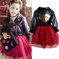 2015 New Girl Princess Leather Dress Party Dress tutu veil red sequined dress  Diamond Kids Clothes Birthday wedding