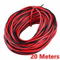 Cable eléctrico de 20 metros de cobre estañado 2 Pin AWG 22 extensión de PVC aislado Cable de tira de LED Cable rojo negro eléctrico extender cable
