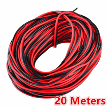 20 meters Electrical Wire Tinned Copper 2 Pin AWG 22 insulated PVC Extension LED Strip Cable Red Black Wire Electric Extend Cord rvb 2 2 5 square copper red with black color cable parallel to the outer wire led speaker cable electronic monitor power cord