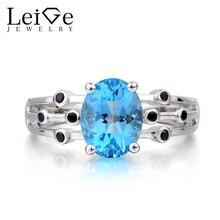 Leige Jewelry Wedding Ring Swiss Blue Topaz Ring Blue November Birthstone Gemstone Oval Cut Gemstone 925 Sterling Silver Ring