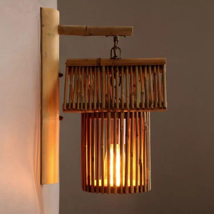 Бамбука светильник декоративный Бра Творческий прохода кафе под старину дом ручной бамбука отточить Освещение Бра ZA zb51