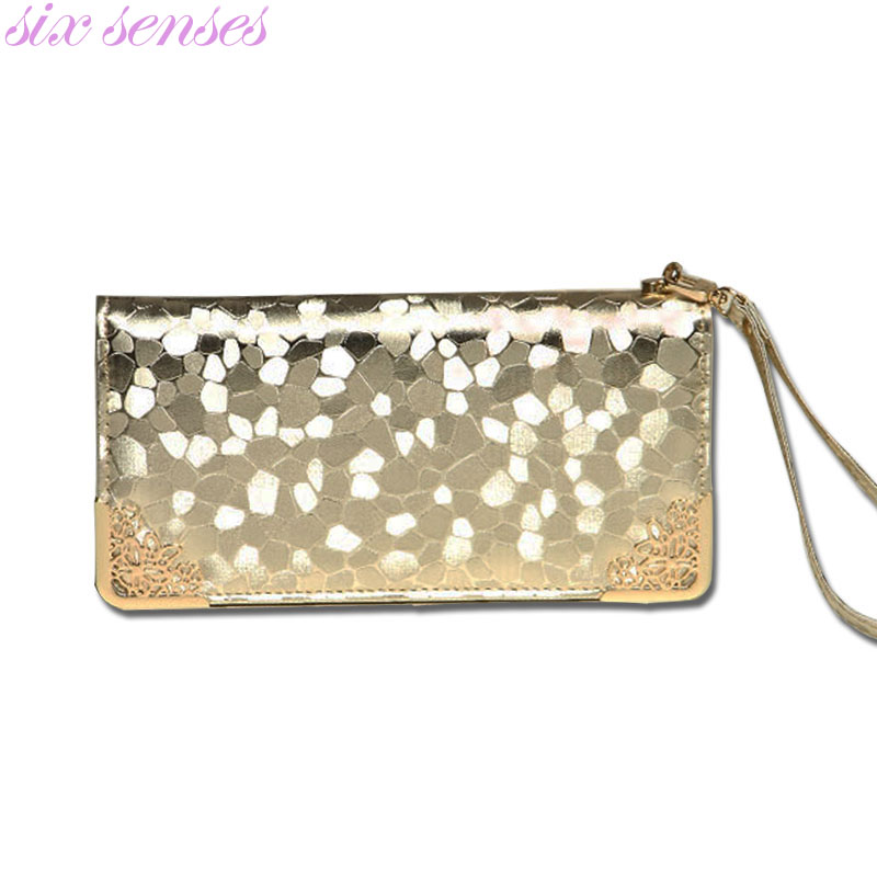 Six senses long clutch wallet fashion silver patent leather stone pattern PU Leather purse money Bag Coins Holder elegant DL1944