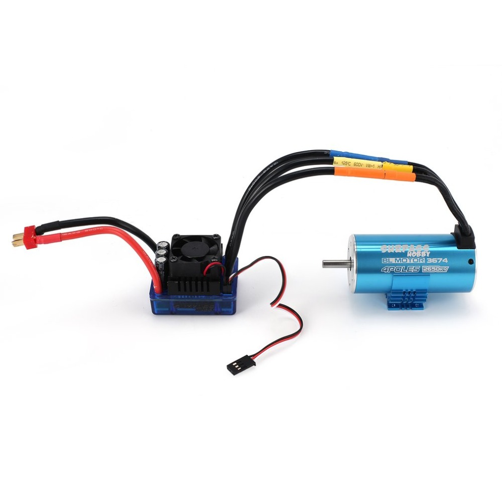 SURPASSHOBBY 3674 2650KV/4P 5mm Brushless Motor with Heat Sink 120A Brushless ESC Combo Set for 1/8 RC Car Model Toy Parts Hot 4 sets lot rc accessories brushless motor parts propeller adapter 1 5mm 2 0mm 3 0mm prop saver with rubber band o ring