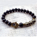 SN0591 Pyrite Hamsa bracelet Fatima Hand bracelet For Men Onyx and Pyrite bracelet Hamsa Jewelry