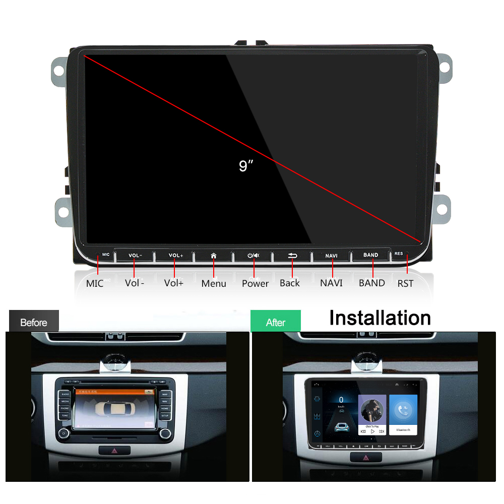 Podofo 9 quot Android Car Radio GPS Navigation for VW Volkswagen SKODA GOLF 5 Golf 6 POLO PASSAT B5 B6 JETTA TIGUAN dvd player BT in Car Multimedia Player from Automobiles amp Motorcycles