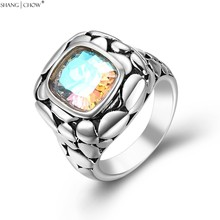 2016 Summer Vintage Jewelry with Rainbow Mystic Topaz Stone 925 Sterling Silver Ring for women evening party Lover Gift R1264