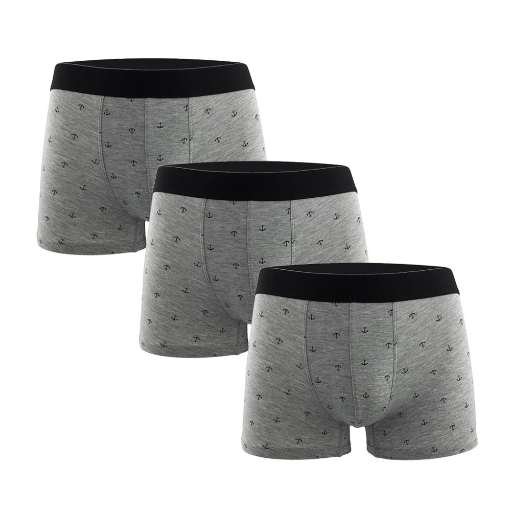 Men's Boxers Underwear Microfiber Sexy Breathable Casual Cool Calzoncillo Anchor-Pattern