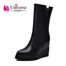 Universe wedge heel mid calf boots platform women warm plush genuine leather black heels ladies winter